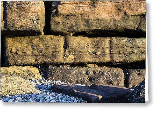 Wall Stone Wall Greeting Cards - Protecting The Shoreline Greeting Card by Andrew Pacheco