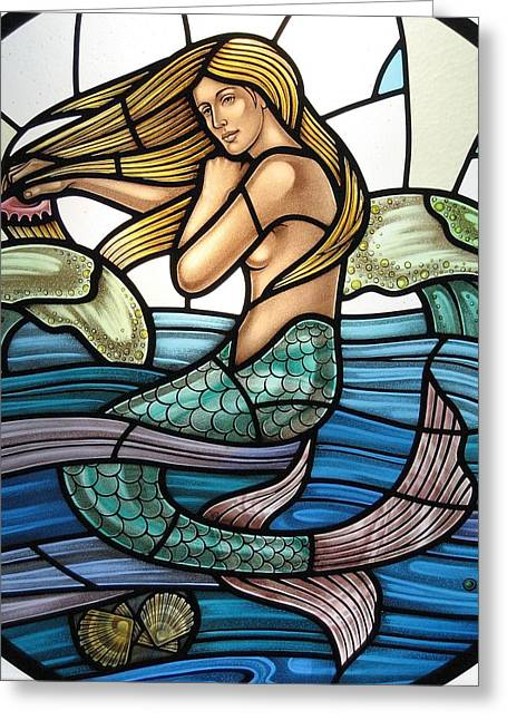 Lead Glass Art Greeting Cards - Protection Island Mermaid Greeting Card by Gilroy Stained Glass