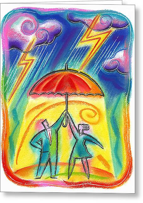 Four People Greeting Cards - Protection Greeting Card by Leon Zernitsky