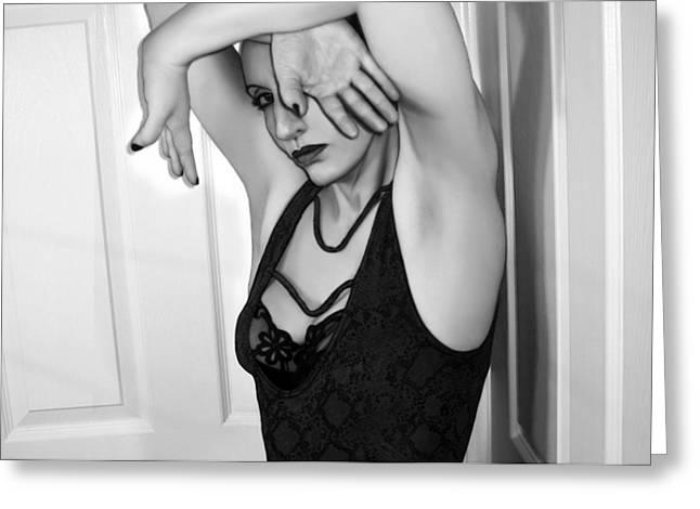 Self-portrait Photographs Greeting Cards - Protection - Self Portrait Greeting Card by Jaeda DeWalt