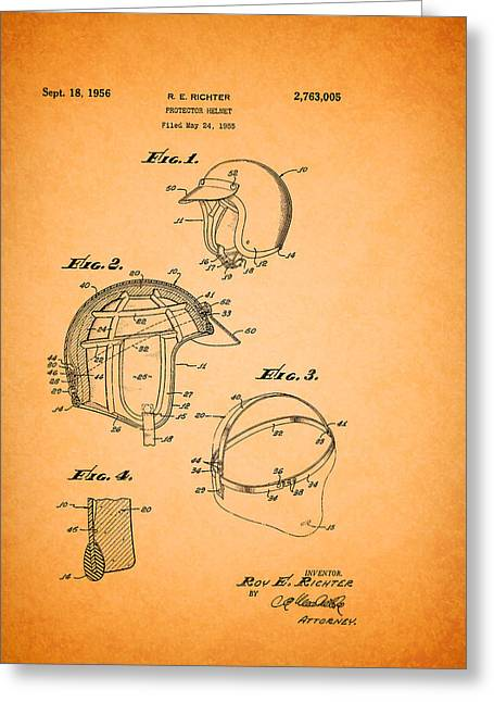 Driving Drawings Greeting Cards - Protective Driving Helmet Patent 1956 Greeting Card by Mountain Dreams