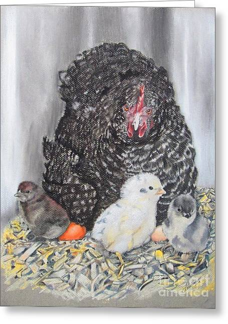 Chicken Laying Eggs Greeting Cards - Protective Mom Greeting Card by Laurianna Taylor