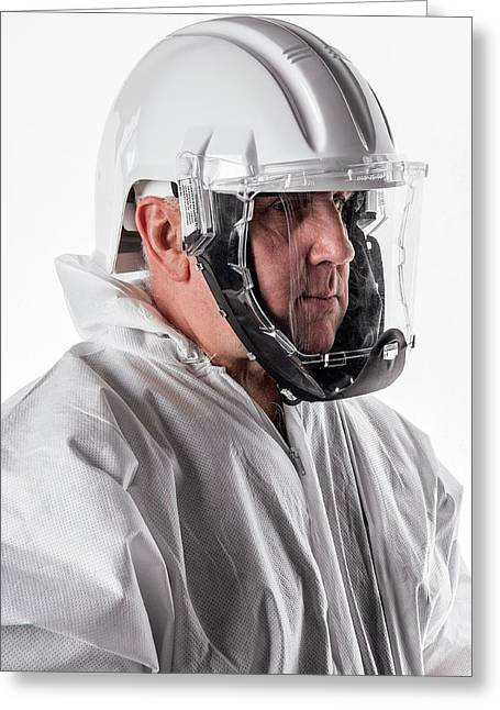 Protective Safety Clothing Greeting Card by Crown Copyright/health & Safety Laboratory Science Photo Library
