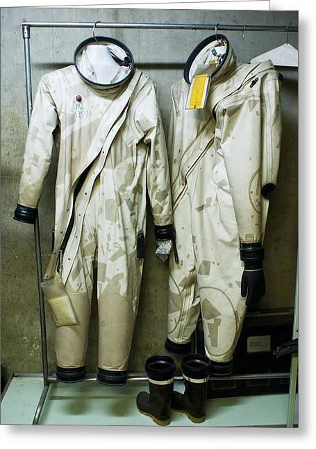 Hazmat Greeting Cards - Protective suits at Titan Missile Museum Greeting Card by Science Photo Library