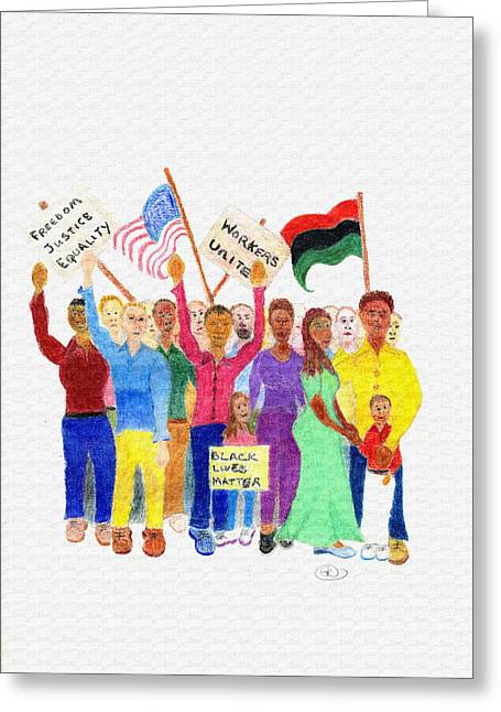 Protest Drawings Greeting Cards - Protest Greeting Card by Greg Roberson