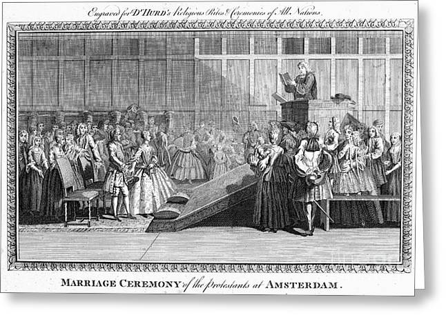 18th Century Greeting Cards - PROTESTANT WEDDING, 1700s Greeting Card by Granger