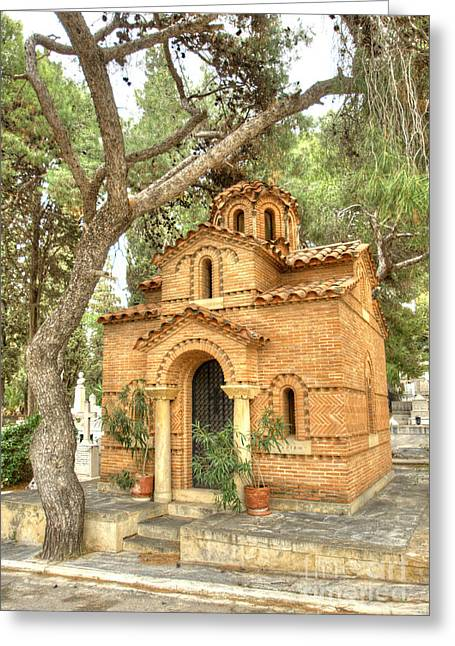 Garden Statuary Greeting Cards - Proto Nekrotafeio Athens 3 Greeting Card by Deborah Smolinske