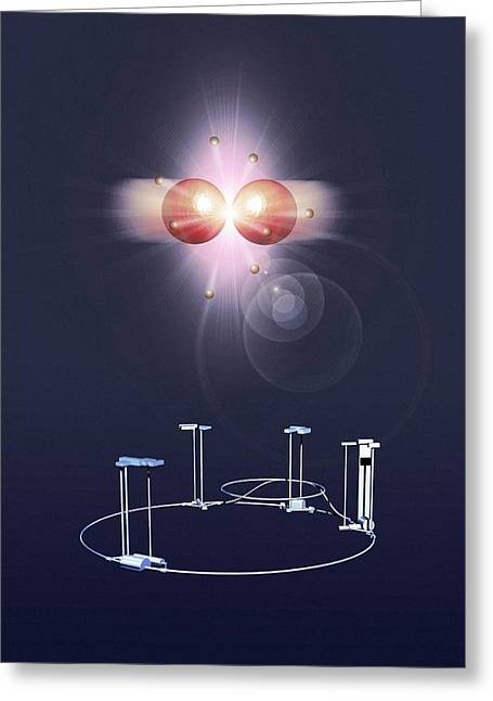 Proton Collision And The Lhc Greeting Card by Mikkel Juul Jensen
