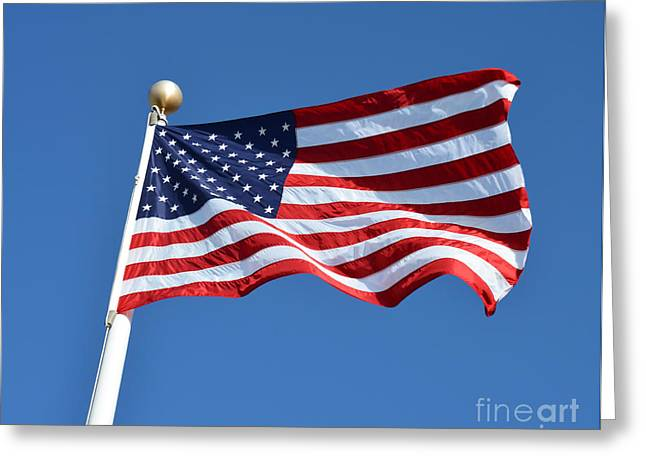Stars And Strips Greeting Cards - Proud American Flag Greeting Card by Christine  Dekkers