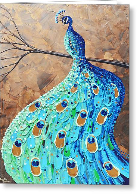 Artist Christine Krainock Greeting Cards - Proud and Graceful Peacock Greeting Card by Christine Krainock