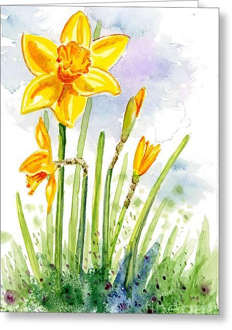 Anniesdoodlebugz Greeting Cards - Proud Daffodil Greeting Card by Annie Troe