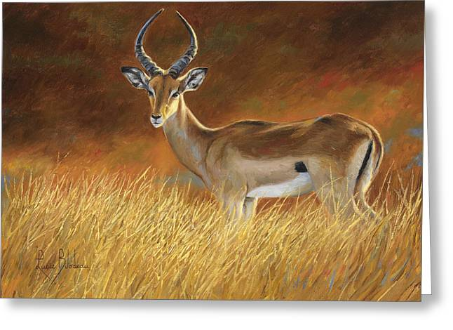 Outdoors Paintings Greeting Cards - Proud Male Greeting Card by Lucie Bilodeau