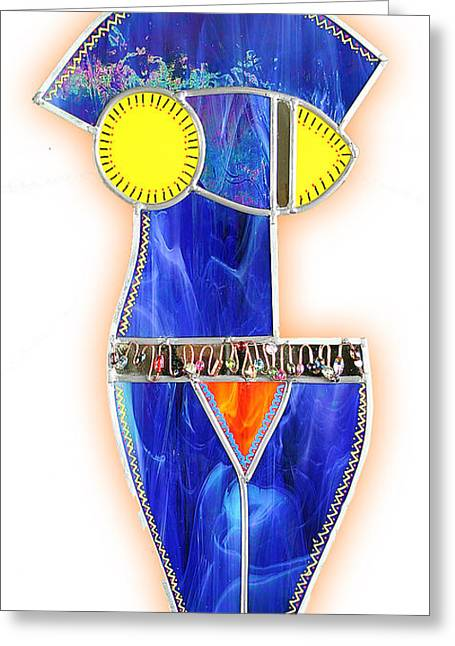 Contemporary Glass Art Greeting Cards - Proud Mary in Blue Greeting Card by Jerry Hymel
