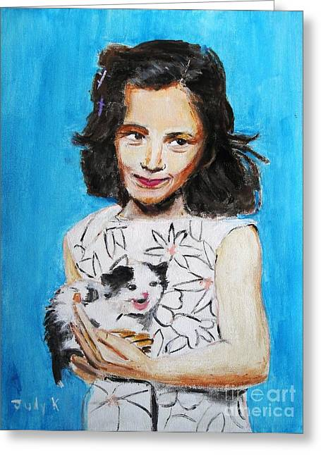 Children Paintings Greeting Cards - Proud Moment Greeting Card by Judy Kay