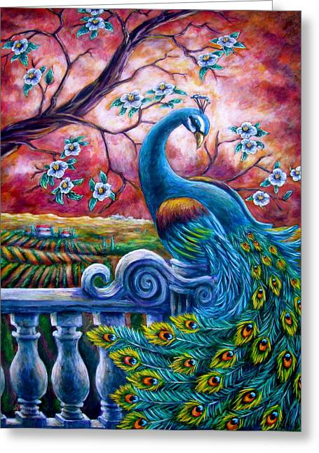 Cherry Blossoms Paintings Greeting Cards - Proud Peacock Greeting Card by Sebastian Pierre