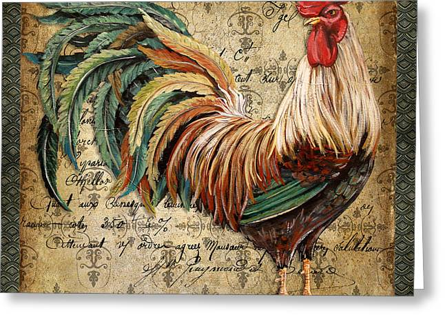 Le Coq Greeting Cards - Proud Rooster-B Greeting Card by Jean Plout