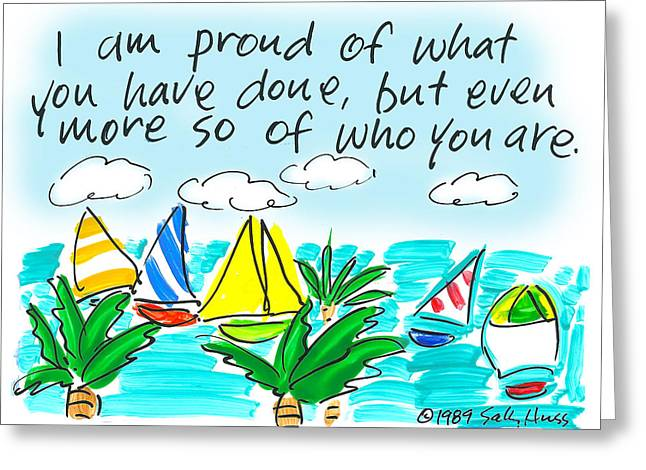 Yellow Sailboats Drawings Greeting Cards - Proud Greeting Card by Sally Huss