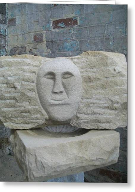 Smile Sculptures Greeting Cards - Proud Smiling Face Greeting Card by Stephen Nicholson