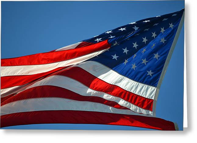 Proudly Waving Greeting Cards - Proudly She Waves - Old Glory Greeting Card by RoyD Erickson