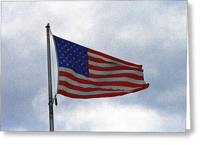 Flag Of Usa Greeting Cards - Proudly We Hail Greeting Card by Kay Novy