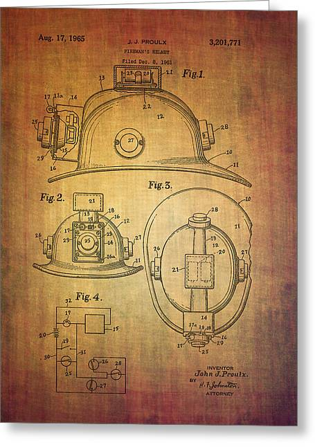Servant Mixed Media Greeting Cards - Proulxs fireman helmet patent from 1965 Greeting Card by Eti Reid