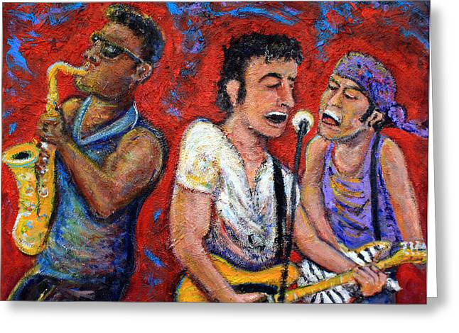 Musicians Paintings Greeting Cards - Prove It All Night Bruce Springsteen and The E Street Band Greeting Card by Jason Gluskin