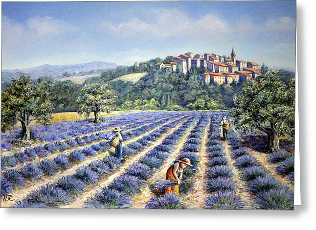 Provence Village Greeting Cards - Provencal Harvest Greeting Card by Rosemary Colyer