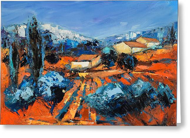 Fauvism Greeting Cards - Provencal Landscape Greeting Card by Elise Palmigiani