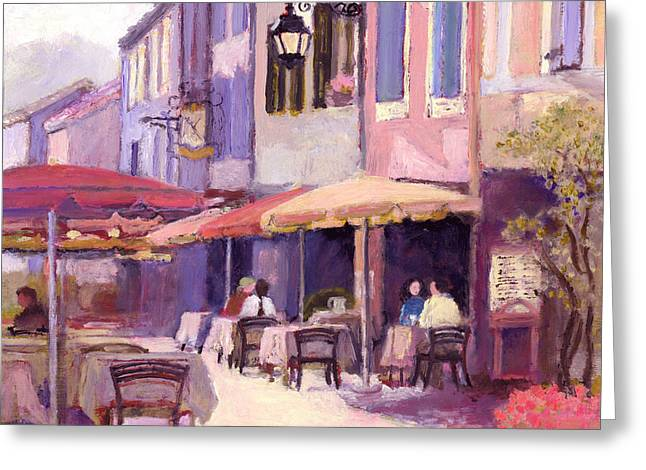 Provence Village Greeting Cards - Provence cafe Greeting Card by J Reifsnyder