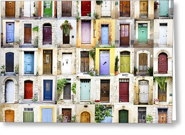 Provence Doors Collage Greeting Card by Carme Martinez