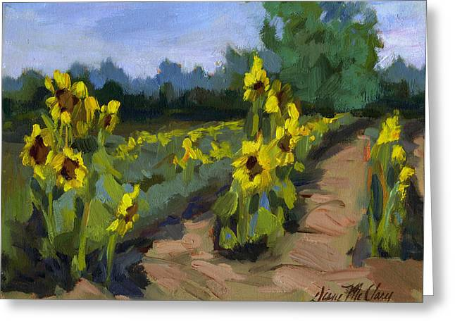 Provence Greeting Cards - Provence Sunflower Field Greeting Card by Diane McClary