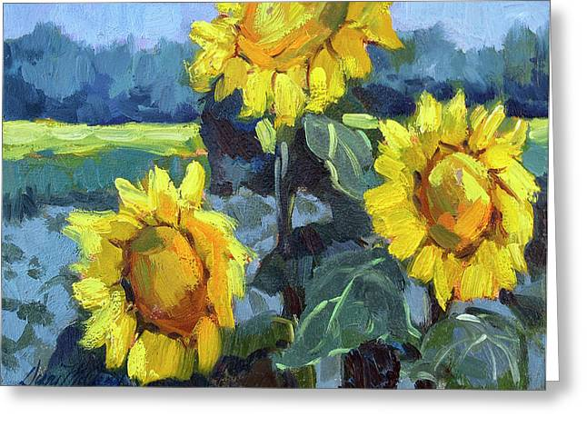 Desert Lake Greeting Cards - Provence Sunflower Trio Greeting Card by Diane McClary