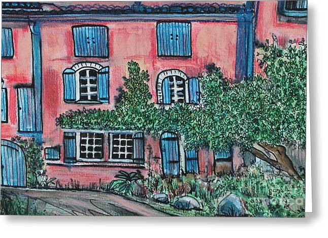 Provence Village Mixed Media Greeting Cards - Provence village house France Greeting Card by Angela  Gannicott