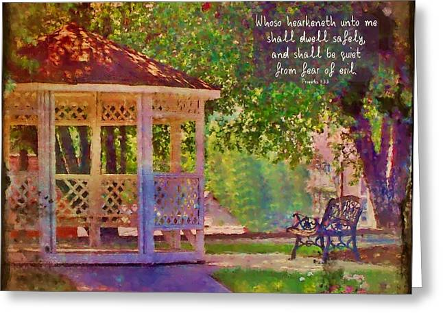 Dwell Greeting Cards - Proverbs 1 33 Greeting Card by Michelle Greene Wheeler