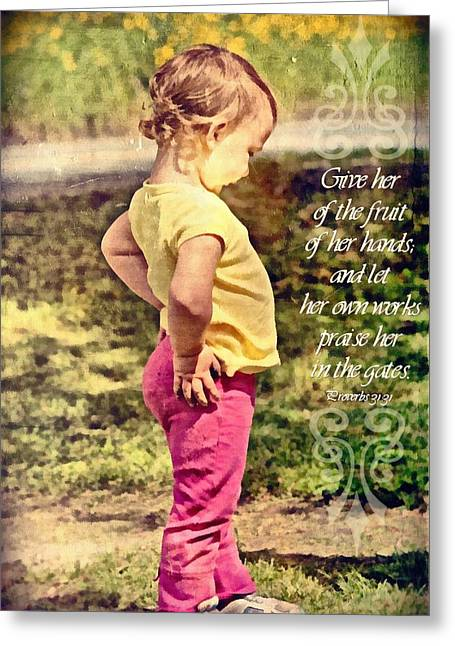 Toddlers Poster Greeting Cards - Proverbs 31 31 Greeting Card by Michelle Greene Wheeler