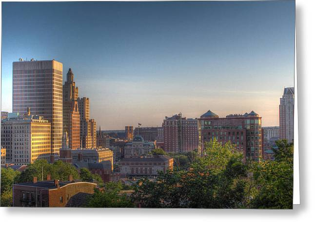 Prospects Greeting Cards - Providence From Prospect Park Greeting Card by Andrew Pacheco