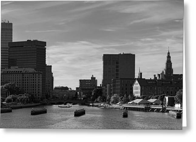 Dave Greeting Cards - Providence Panorama I BW Greeting Card by David Gordon