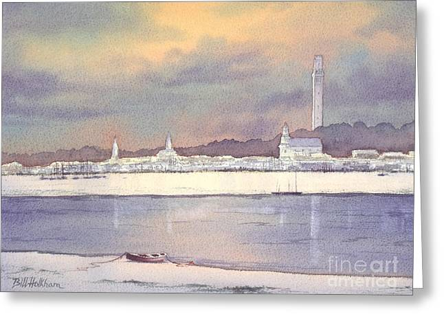 Provincetown Greeting Cards - Provincetown Evening Lights Greeting Card by Bill Holkham