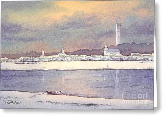 Plymouth Massachusetts Greeting Cards - Provincetown Evening Lights Greeting Card by Bill Holkham