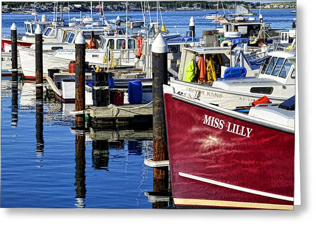 Boats In Harbor Greeting Cards - Provincetown Harbor 3 Greeting Card by Allen Beatty