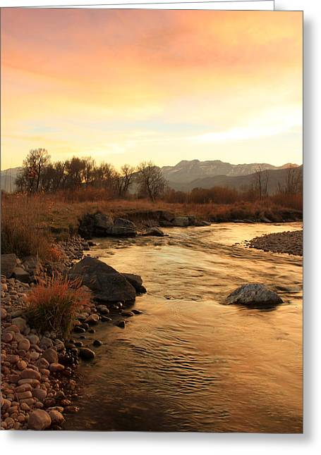 Mountain Valley Greeting Cards - Provo River Sunset Greeting Card by Johnny Adolphson