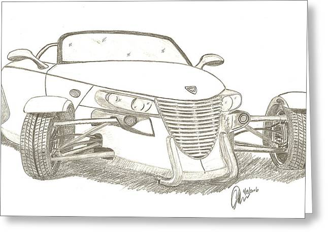 Greyscale Drawings Greeting Cards - Prowler Sketch Greeting Card by Chris Thomas
