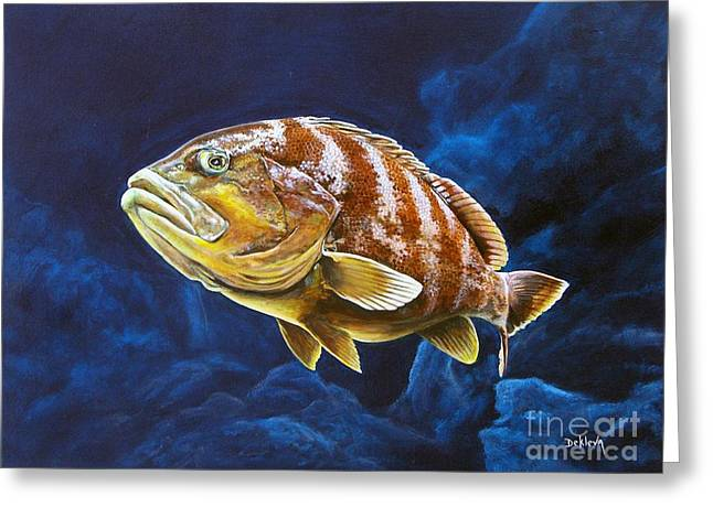 Grouper Print On Canvas Greeting Cards - Prowling Grouper Greeting Card by Joe DeKleva