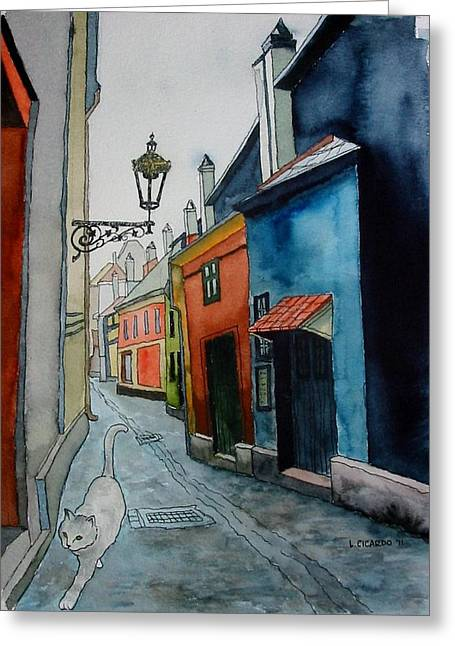 Prague Paintings Greeting Cards - Prowling in  Prague-SOLD Greeting Card by Lou Cicardo