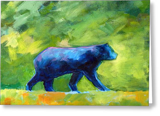 Black Bear Greeting Cards - Prowling Greeting Card by Nancy Merkle