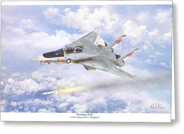Enterprise Digital Art Greeting Cards - Prowling Wolf Greeting Card by Mark Karvon