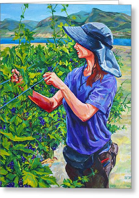 Sun Hat Greeting Cards - Pruning the Pinot Greeting Card by Derrick Higgins