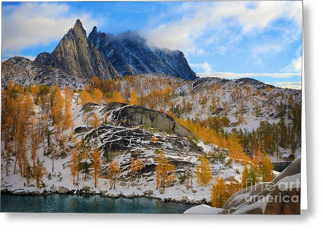 Leavenworth Greeting Cards - Prusik Peak and Larch Trees Greeting Card by Inge Johnsson