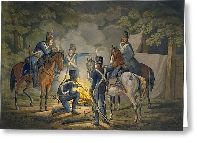 Conversations Drawings Greeting Cards - Prussian Hussars On A Night Picket Greeting Card by Conrad Gessner