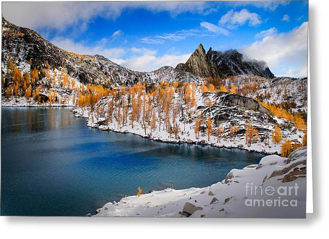 Leavenworth Greeting Cards - Prussik Peak and Inspiration Lake Greeting Card by Inge Johnsson